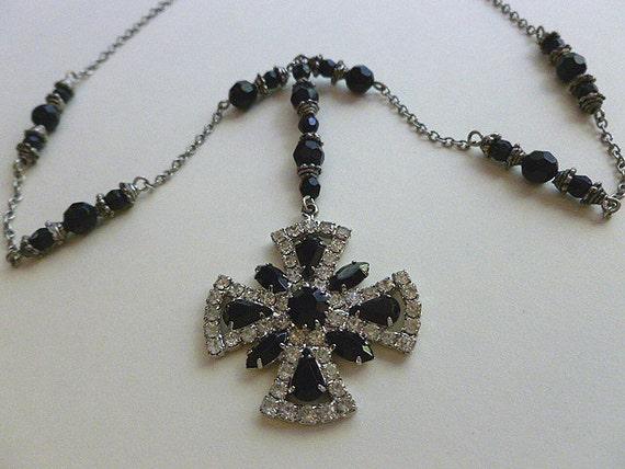 Cross Necklace Vintage Black and Silver Rhinestones Beaded OOAK Cross Necklace Ensemble