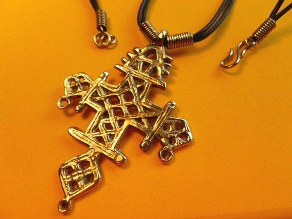 Huge Goldtone Metal Coptic Cross with Leather Neckchain