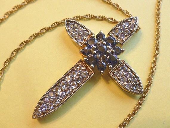 30% SALE-Rare Tanzanite & Iolite Vintage Twotone Cross Gold and Silver Collectors Cross with Neck Chain