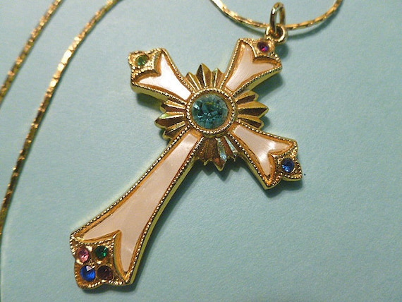 Vintage Christian Mother of Pearl and Blue Crystal Cross Pendant with Neckchain