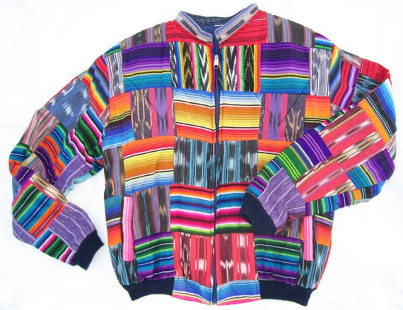 The Tribe - 1980s 90s Bomber Ikat Tribal Navajo Jacket quilted unisex Southwestern hipster coat
