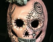 Handmade and Hand-painted Dia de los Muertos (Day of the Dead) Mask/Headpiece