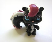 Littlest Pet Shop OOAK Spunky Skunk Toy - Black and White with Raspberry Pink Stripe