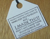 I Made This - Lot of 7 rubber stamped paper hang tags for your handmade items