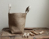 Textile Clothesspins Basket /burlap and linen