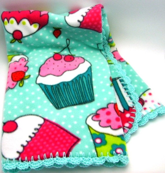 ON SALE - Fleece Blanket with cupcake print and Crocheted Edge - Ready to Ship.
