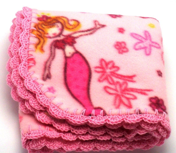Fleece Blanket with Mermaid print / Crocheted Edge READY TO SHIP.