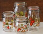 Vintage Glass Storage Jars Mushroom Orange Canister Set of 4 France