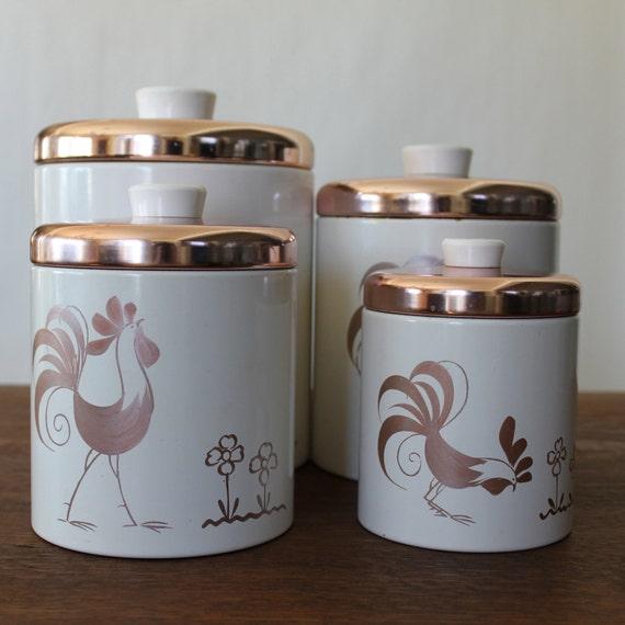 Vintage Kitchen Canisters: Vintage Canister Set Ransburg Rooster Copper Canisters Set Of