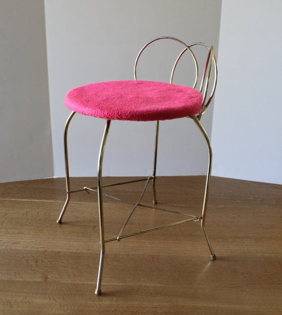 vintage vanity chair metal bench stool retro mod hot pink