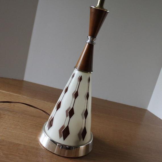 Mid Century Table Lamp Retro Lamp 1950's Brown Diamond Mens