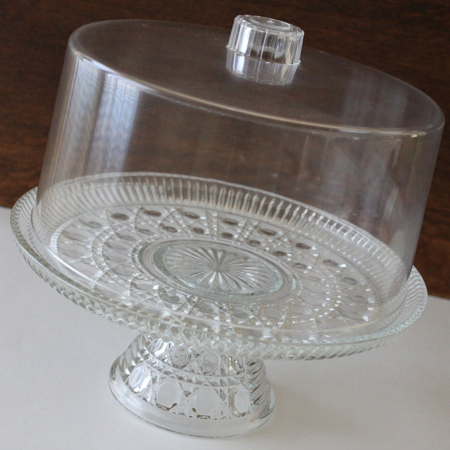 cake stand cut glass cake plate plastic cover birthday shabby. Black Bedroom Furniture Sets. Home Design Ideas