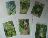 Greeting Cards - Garden Gate and Path with Black Cat - original artwork