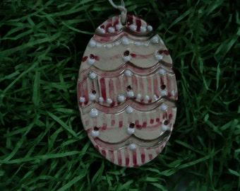 Easter Ornament  Egg -  vintage looking handmade ceramic