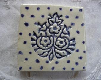 Handmade Ceramic Tile - Blue and White Wood Block Flower Design
