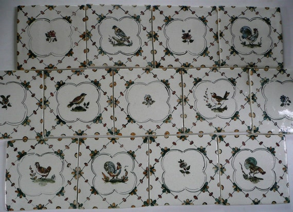 French Country Handpainted Ceramic Tiles 6 X 6 Roosters