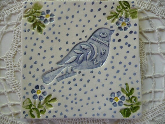 Tile Bird and Flower design in blue, green and yelllow - handmade ceramic