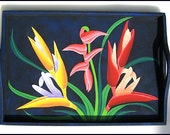 Hand Painted Wooden Serving Tray - Tropical Flowers - PT-303