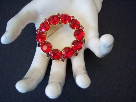 Christmas Stocking Stuffer - Large 1950's Cherry  Red Rhinestone Circle Pin