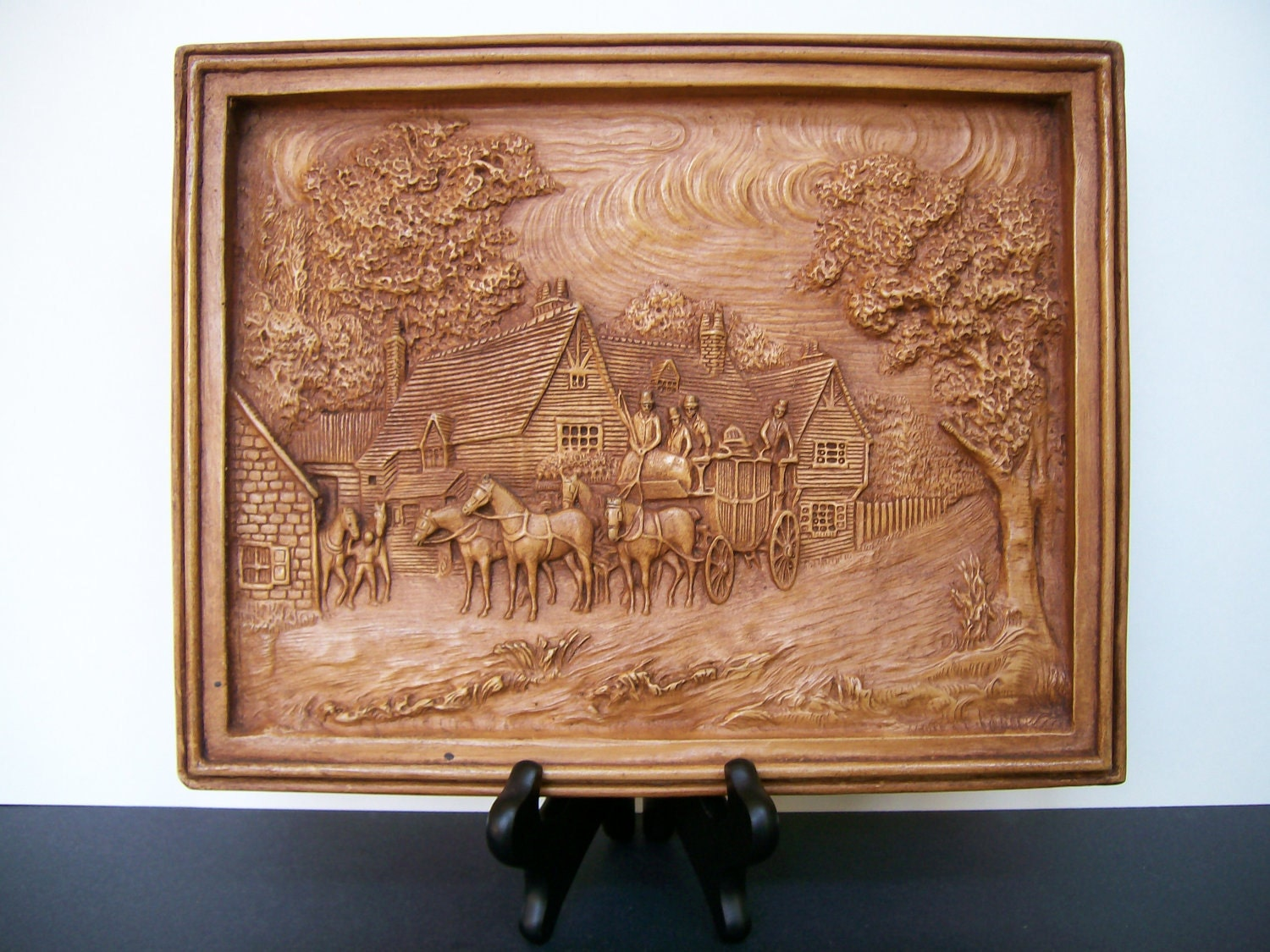 High relief carved wood art plaque by dino sculptures