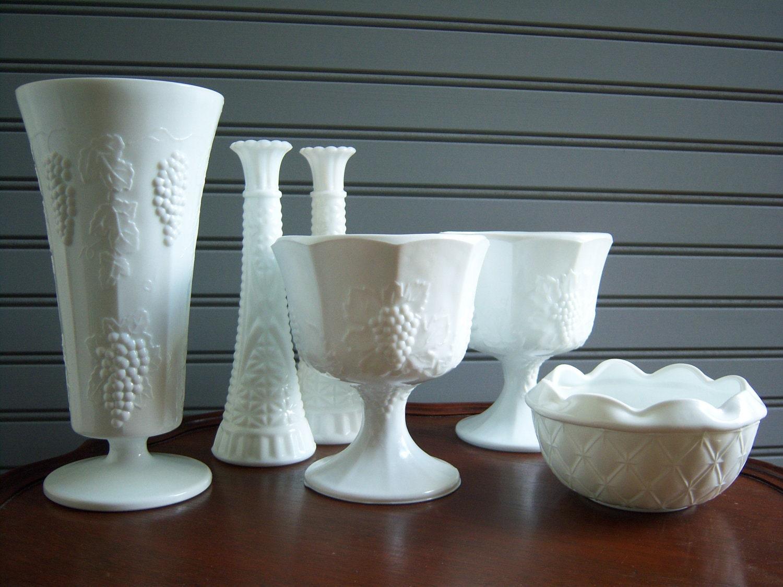 lovely set of six white milk glass vases compotes wedding. Black Bedroom Furniture Sets. Home Design Ideas