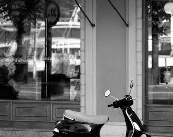 "Italy Photography, ""Scooter at the Pasticceria"", Travel Photography, Black and White Photo, Wall Art, Customizable Print Sizes"