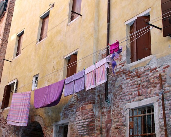"Italy Photography, ""Purple Italian Laundry"", Travel Photography, Venice Photo, Fine Art Home Decor, Customize Your Own Print Size"