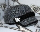 Punk Rock Grey and Black Brim Newsie Hat with skull n crossbones buttons....Also avail. in pink and black