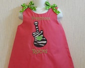 Custom Embroidered Monogram Boutique Personalized Dress Free Hair Bow BTS Preschool Rocks