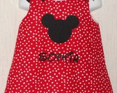 Custom Embroidered Monogram Boutique Personalized Mickey Mouse Disney Dress Free Hair Bow
