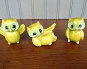 Vintage Owls Miniatures Figurines Owl Set 3 Small Plastic Retro Autumn Fall Halloween Home Decor
