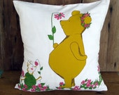 Decorative Pillow Pooh Winnie Bear Classic Cover Vintage Fabric Piglet Child Kids Children Baby Pink Plaid Reversible Nursery Bedding