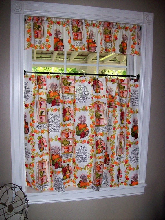 Vintage Kitchen Curtains Set Tiers Cafe Valance Pinch Pleated