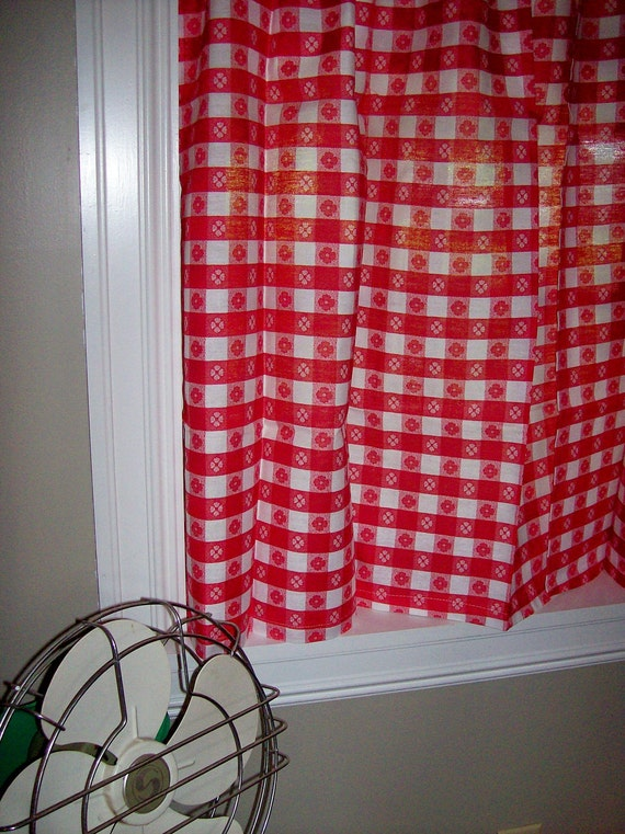 Vintage curtains kitchen red white gingham checked plaid new old stock