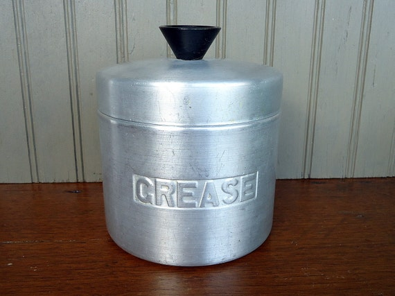 Vintage metal canister grease container strainer brushed