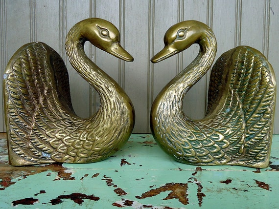 vintage brass bookends swans birds ducks by thesquirrelcottage