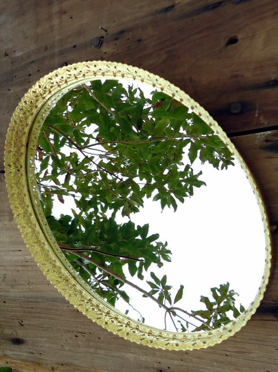 Vintage Mirror Tray Vanity Dresser Oval Cosmetic Wall Hanging Gold Brass Tone Metal Mirrored Shabby Cottage Romantic