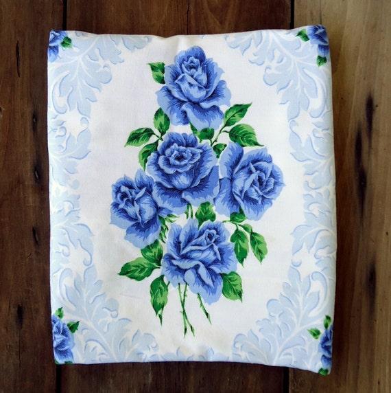 Vintage Blue Roses Tablecloth Cobalt Flowers Floral White Linens Home Decor Retro Cottage Romantic Shabby Farmhouse Kitchen