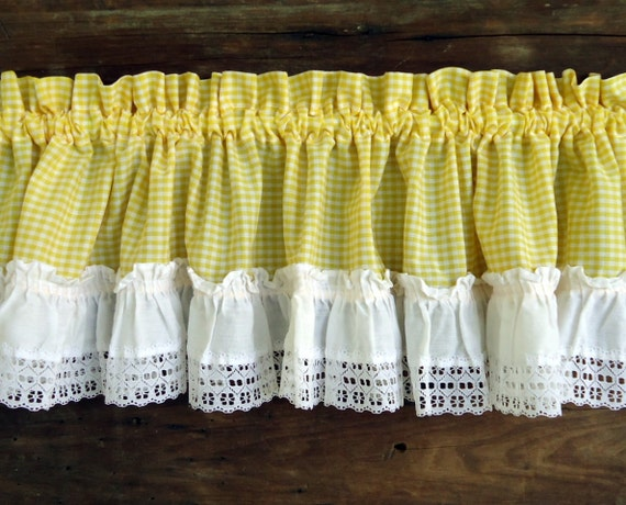Vintage Curtains Valances Panels Yellow Gingham Check White
