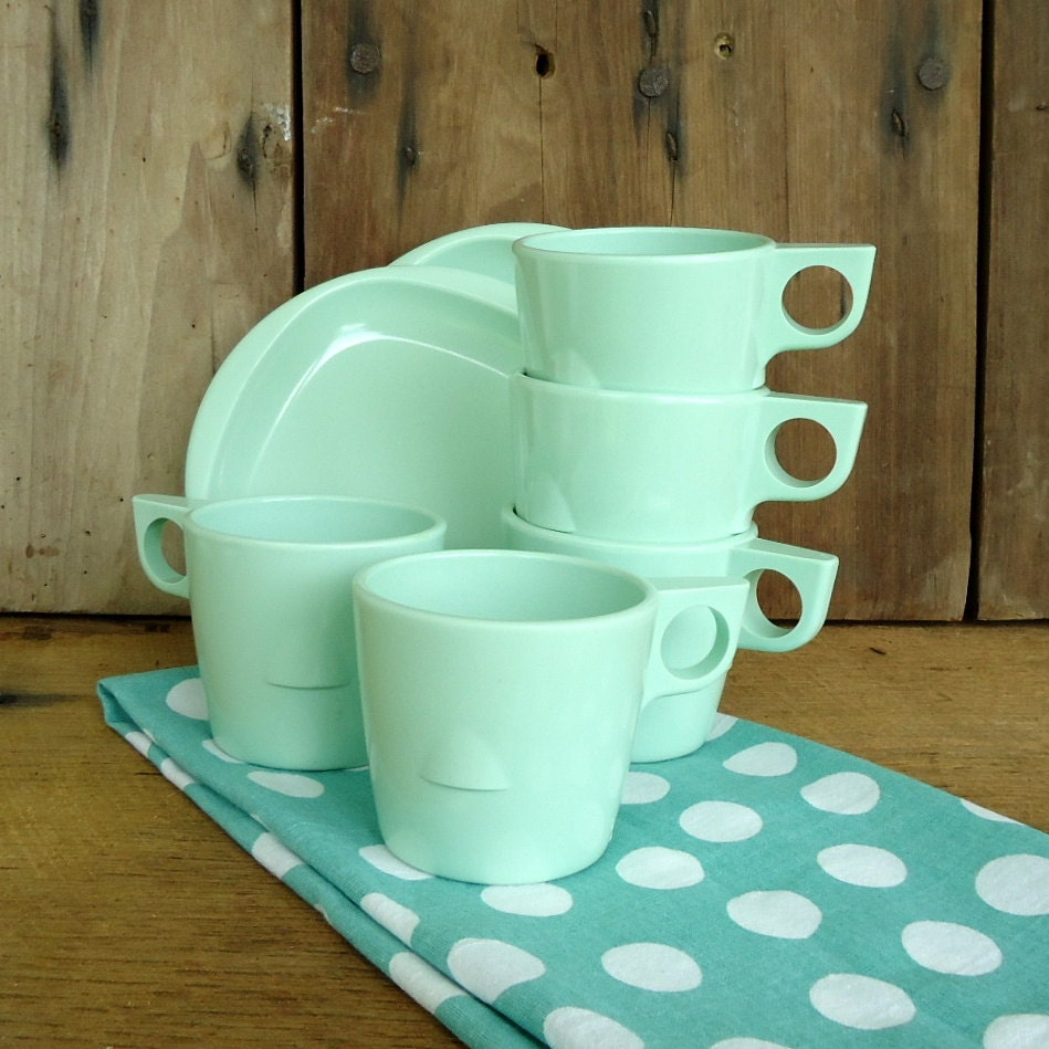 Vintage Green Melmac Dishes Set Cups Mugs Saucers Set Mint