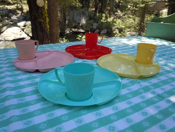 "Reserved for JuiceJ-Vintage 60s Bright  Plastic Matching Cups- Plates  ""Gotham Wear"" Place Setting 4-Red-Yellow-Pink-Green"