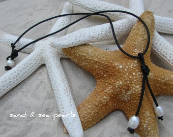 Double Freshwater Pearl and Leather Necklace...FREE SHIPPING to US
