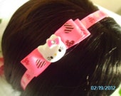 Pink Hello Kitty Headband Light Pink or Dark Pink Hearts Love Valentine's Day YOU CHOOSE COLOR