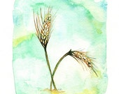 Field of Wheat/ Blue, Green, Yellow, Gold Wheat Archival Watercolor Print