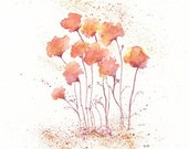 Coral Fields of Love/  Flowers Watercolor Print