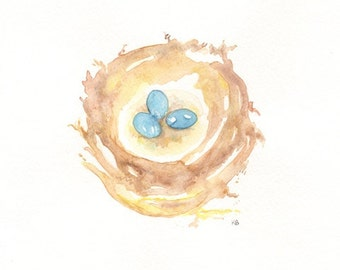 Nest with 3 blue eggs/ Watercolor Print