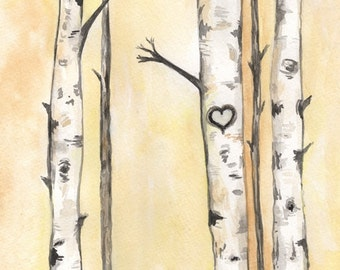 Never Ending Love/Birch Trees with heart/ Love/ Romance/watercolor print/grey and yellow/gray and yellow