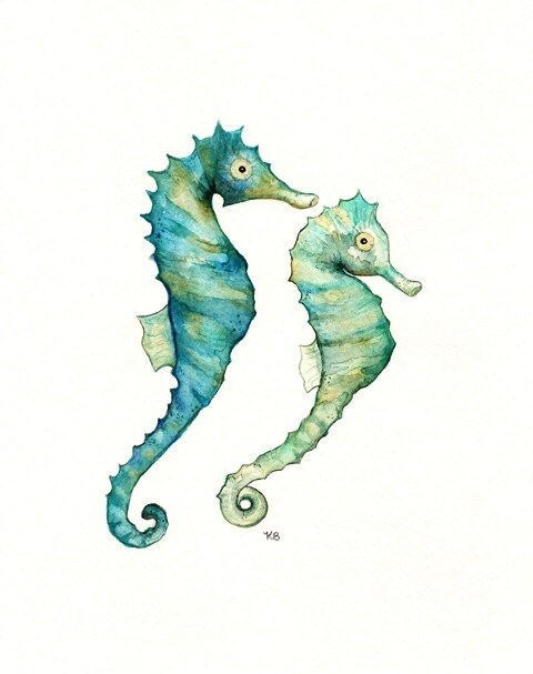 image seahorse art print watercolour watercolor