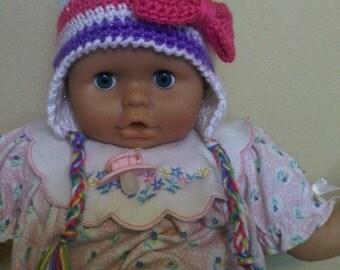 Striped Earflap Baby Beanie