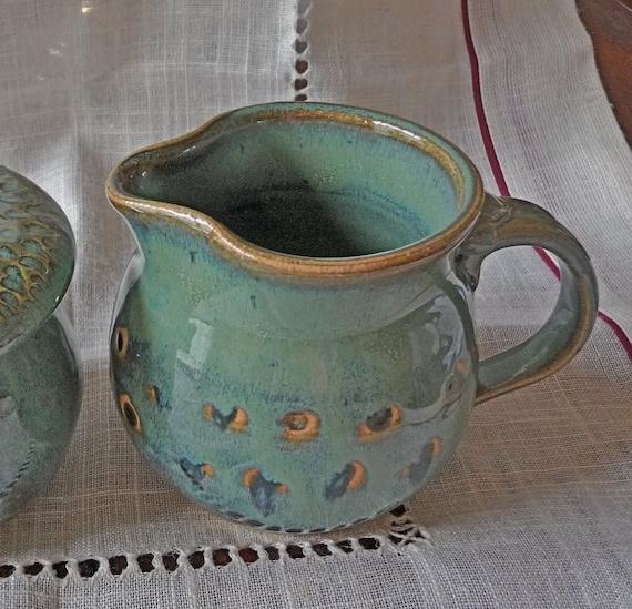 Pottery pitcher with polk a dot pattern on etsy